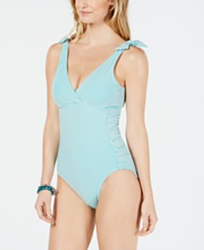 Lauren Ralph Lauren Seersucker Tummy-Control Underwire One-Piece Swimsuit