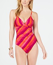 9434e209e7 Lauren Ralph Lauren Painted Stripe Underwire Tummy-Control One-Piece  Swimsuit