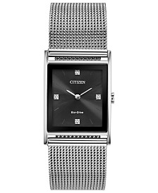 Citizen Eco-Drive Unisex Axiom Stainless Steel Mesh Bracelet Watch 26mm