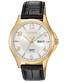Citizen Men's Quartz Brown Leather Strap Watch 41mm