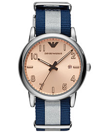 Emporio Armani Men's Blue & White Nylon Strap Watch 43mm