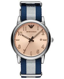 Emporio Armani Men's Blue & White Nylon Strap Watch 43mm