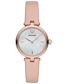 Women's Nude Leather Strap Watch 32mm