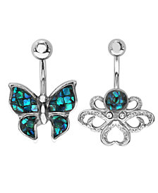 Bodifine Stainless Steel Synthetic Mother of Pearl Mosaic Belly Bars Set of 2