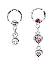 Bodifine Stainless Steel Set of 2 Crystal Drop Charm Cartilage Rings
