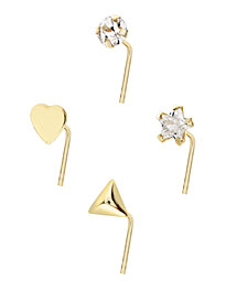 Bodifine 9 Carat Gold Crystal and Shaped Nose Studs Set of 4