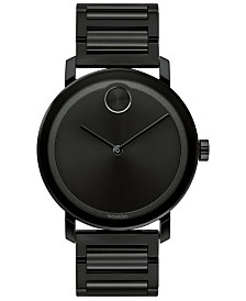Movado Men's Swiss BOLD Black Stainless Steel Bracelet Watch 40mm