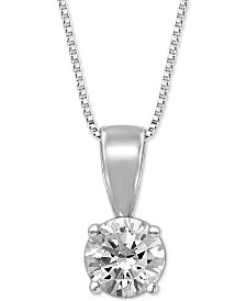 "Diamond Solitaire 18"" Pendant Necklace (1/2 ct. t.w.)"