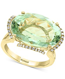 EFFY® Prasiolite(12-7/8 ct. t.w.) & Diamond (1/8 ct. t.w.) Statement Ring in 14k Gold