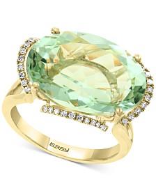 EFFY® Prasiolite(12-7/8 ct. t.w.) & Diamond (1/8 ct. t.w.) Statement Ring in 14k Gold