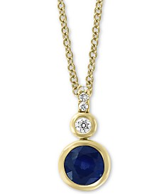 "EFFY® Sapphire (1 ct. t.w.) & Diamond (1/10 ct. t.w.) 18"" Pendant Necklace in 14k Gold"