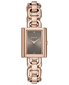 DKNY Women's Uptown Rose Gold-Tone Stainless Steel Bracelet Watch 21x24mm