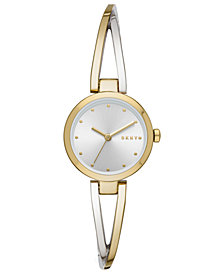 DKNY Women's Crosswalk Two-Tone Stainless Steel Bangle Bracelet Watch 26mm