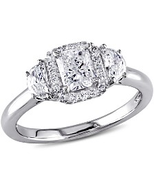 Certified Diamond (1 ct. t.w.) Radiant-Shape 3-Stone Halo Engagement Ring in 14k White Gold