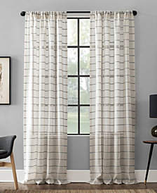 "Clean Window Twill Stripe Anti-Dust Curtain Panel, 52"" x 63"""