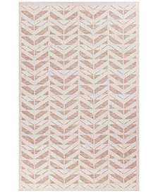 "KAS Farmhouse Chevron 3201 Beige 6'7"" x 9'6"" Indoor/Outdoor Area Rug"