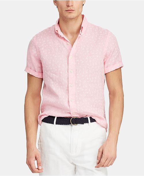 9698a97636db Polo Ralph Lauren Men's Classic Fit Micro-Print Linen Shirt ...