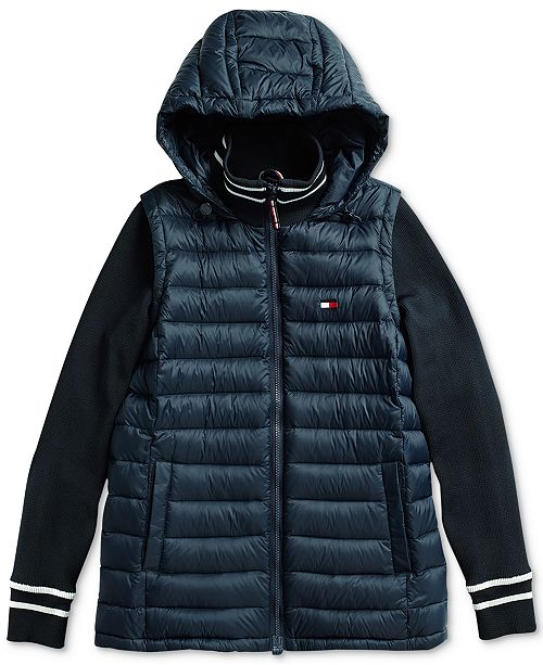 5a3127a21a5ea1 Tommy Hilfiger Women's Mixed Media Jacket with Magnetic Zipper ...