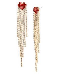 BCBGeneration Stone Fringe Heart Linear Earrings