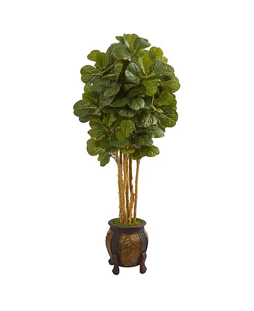 Nearly Natural 5.5' Fiddle Leaf Artificial Tree in Decorative Planter