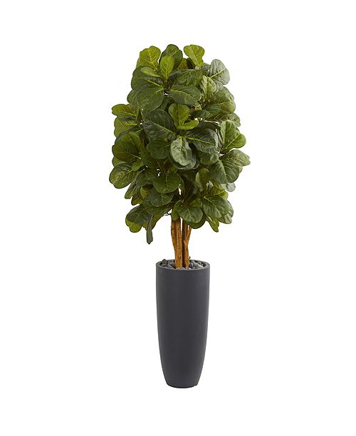 Nearly Natural 5.5' Fiddle Leaf Artificial Tree in Gray Cylinder Planter