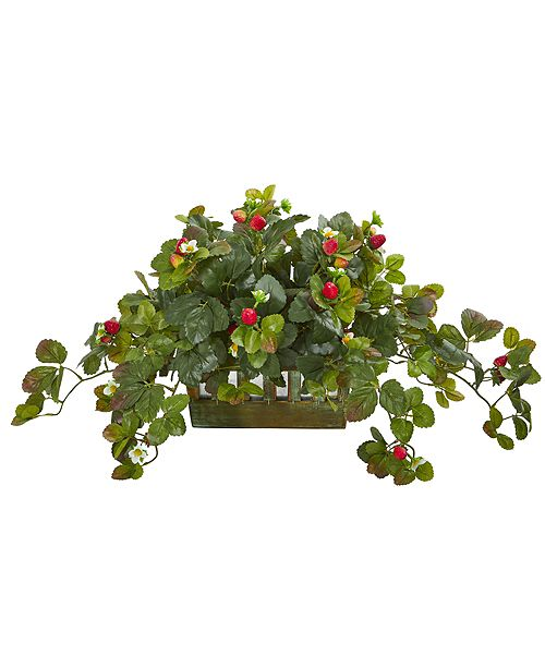Nearly Natural Strawberry Artificial Plant in Decorative Planter