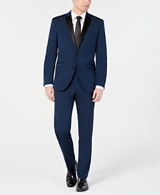 Kenneth Cole Reaction Men's Techni-Cole Slim-Fit Stretch Notch Lapel Deep Blue Tuxedo