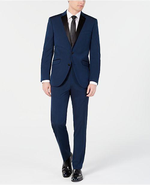 Kenneth Cole Reaction Men's Techni-Cole Slim-Fit Stretch Notch Lapel Deep Blue Tuxedo