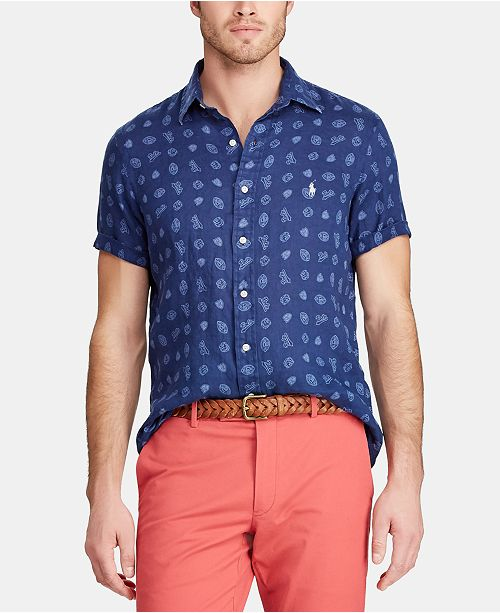 Classic Fit Micro Shirt Men's Print Linen 76bfgy