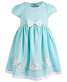 Good Lad Little Girls Gingham Seersucker Bunny Dress