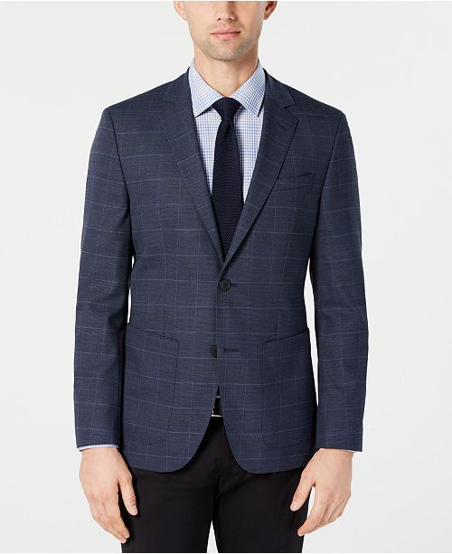 79ac3b05cf5 Hugo Boss Men's Classic-Fit Blue Checkered Sport Coat & Reviews ...