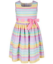 Bonnie Jean Little Girls Rainbow Striped Linen Dress
