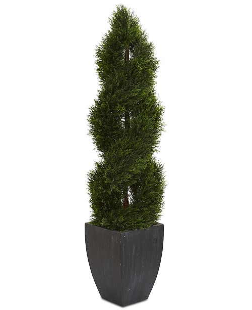 Nearly Natural 5' Double Pond Cypress Spiral Topiary Artificial Tree in Black Wash Planter UV Resistant
