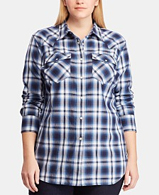 Lauren Ralph Lauren Plus Size Plaid Cotton Shirt