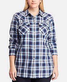 9d1caf57630 Lauren Ralph Lauren Plus Size Plaid Cotton Shirt