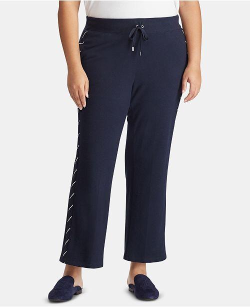 Lauren Ralph Lauren Plus Size Striped Embroidered Sweatpants