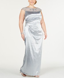 Adrianna Papell Plus Size Pleated Satin Gown
