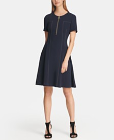 DKNY Fit and Flare Dress with Contrast Stitching, Created for Macy's