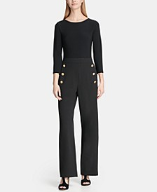 3/4 Sleeve Sailor Pant Combo Jumpsuit, Created for Macy's