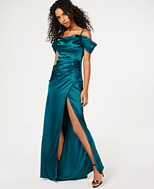 B Darlin Juniors' Off-The-Shoulder Side-Slit Gown