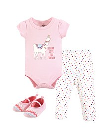 Unisex Baby Bodysuit, Pant and Shoes, Llama Love, 3-Piece Set, 3-6 Months (6M)