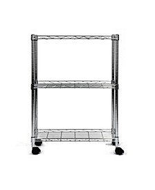 3-Tier Shelving All-Purpose Utility Cart, Chrome
