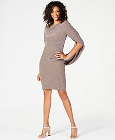 Metallic-Knit Draped Sheath Dress