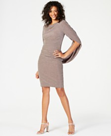 Betsy & Adam Metallic-Knit Draped Sheath Dress
