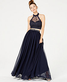 Sequin Hearts Juniors' 2-Pc. Glitter Crochet Gown, Created for Macy's