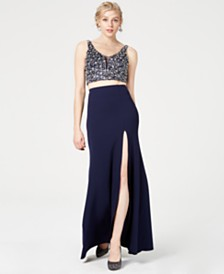 Say Yes to the Prom Juniors' 2-Pc. Bejeweled Slit Gown, Created for Macy's