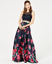 fe2593429f Sequin Hearts Juniors  2-Pc. Sequined Lace   Floral Gown