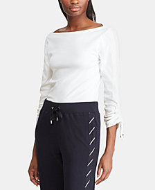 Lauren Ralph Lauren Cinched-Sleeve Top