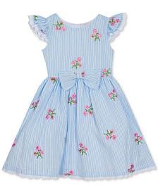 Rare Editions Little Girls Embroidered Seersucker Dress
