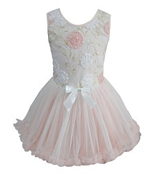 Little Girls Elegant Flower Peach Ruffle Dress